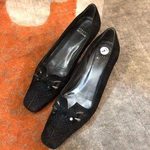 Stewart Weitzman Black Perforated Suede Heel Pumps